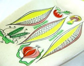 RESERVED Mid Century Serving Dish, Midmod Retro Kitsch James Kent 'Salad Days' Divided Hors D'Oeuvres/Vegetable Dish 1960s