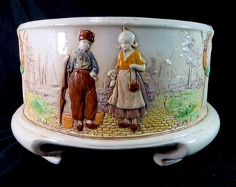 SALE! Antique Bretby Bowl, Victorian Art Nouveau Era Art Pottery Dutch Children Clanta Jardiniere Planter Cachepot Jardiniere 1900