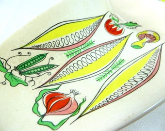 SALE! Mid Century Serving Dish, Midmod Retro Kitsch James Kent 'Salad Days' Divided Hors D'Oeuvres/Vegetable Dish 1960s