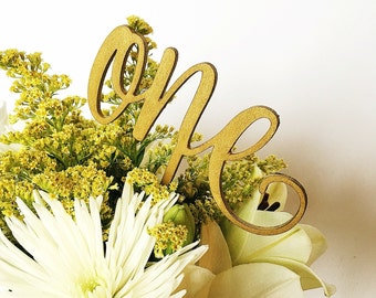 Wood Hand Lettered Script Table Numbers    -  Wedding /Decoration / Tables / Custom Color