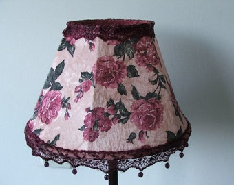 Pink Flowery Victorian Style  Velvet Table Lamp Soft Color Large Flowers Printing  With crystal beads antiqu Look