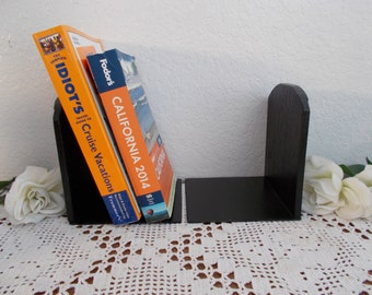 Black Bookend Set Up Cycled Vintage Wood Metal Book End Pair French Country Farmhouse Traditional Man Cave Office Library Home Decor Gift