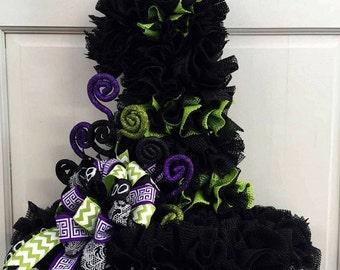 Shabby Halloween Witch Hat Door/Wall Table Wreath