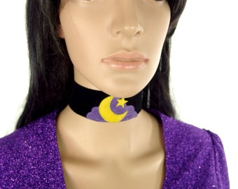 HUZZAR DESIGN Moon, Star And Cloud Suede Choker in Lavender And Yellow Made to order