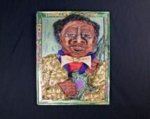 Vintage Black folk art ,outsider art , Delta Blues folk art. BB King wall art