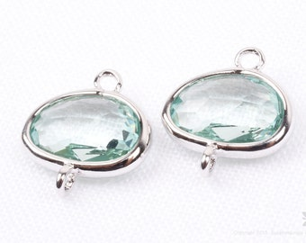 F130-S-AQ// Silver Framed Aquamarine Glass Stone Connector, 2 pcs
