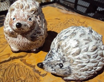 Hedgehogs Pair, Handmade Stone