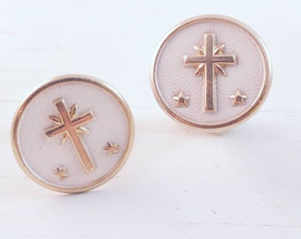 Cross Cufflinks Religious Cuff Links Cross Star Symbolism Men's Jewelry