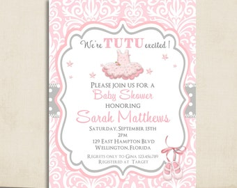 pink tutu baby shower invitation ballerina tutu cute pink damask and gray dots printable invite