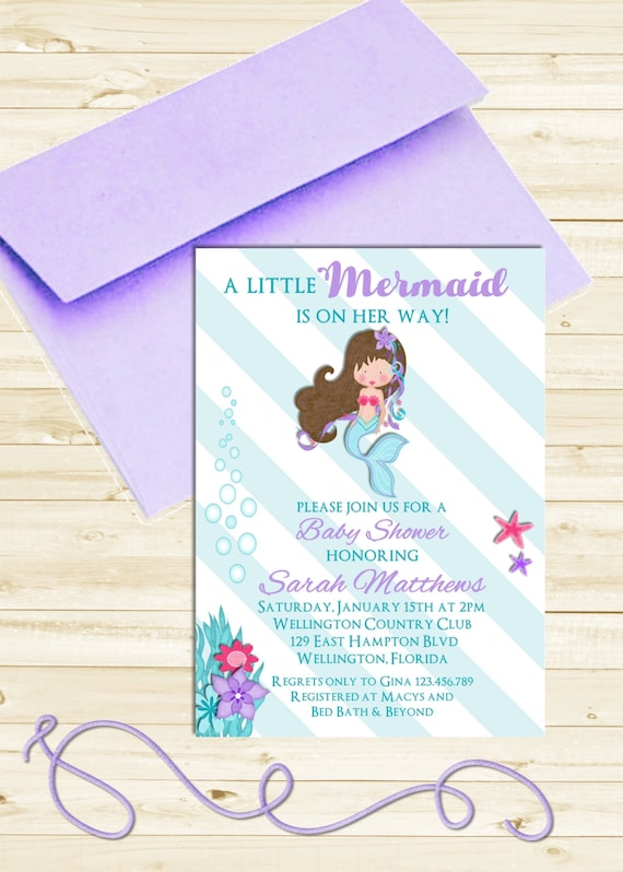 Little Mermaid Baby Shower Invitation - Striped Turquoise and Purple Under the Sea Printable Invite
