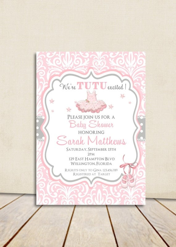 Pink Tutu Baby Shower Invitation - Ballerina Tutu Cute Pink Damask and Gray Dots Printable Invite