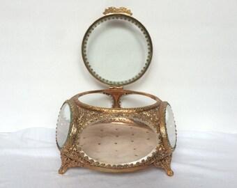 Filigree Ormolu Jewelry Box Vanity Velvet Display Beveled Glass Trinket Casket Vintage