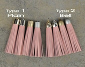 Indian Pink (cowhide) Leather TASSEL in 16mm Cap -4 colors Plated Cap- Pick cap color & type