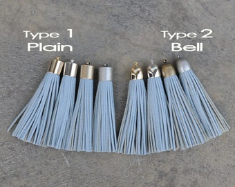 Milky Blue Lizard Pattern Leather (cowhide) TASSEL in  16mm 4 color- Plated Cap- Pick your tassel cap & type