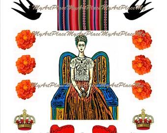Frida Kahlo Collage Sheet, Frida Digital Download,  Mexican Art Frida, Day of Dead Frida, Clip Art Frida Kahlo, Marigolds, Mexican Printable