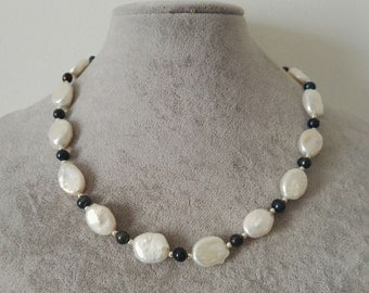 Pearl Necklace- 12*17mm white baroque pearl & 6mm black pearl necklace