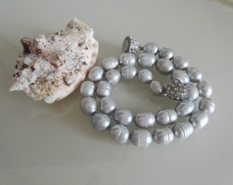 pearl necklace - 10*12 mm gray freshwater pearl necklace, free shipping