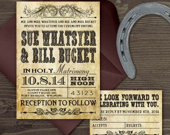 Western Wedding Invitation Set  PRINTABLE