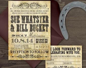Western Wedding Invitation Set  PRINTABLE