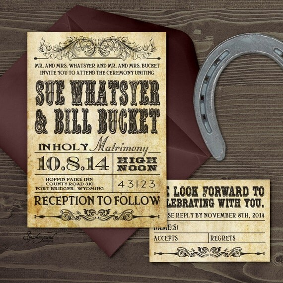 When Do You Send Out Wedding Invitations: Western Wedding Invitation Set PRINTABLE
