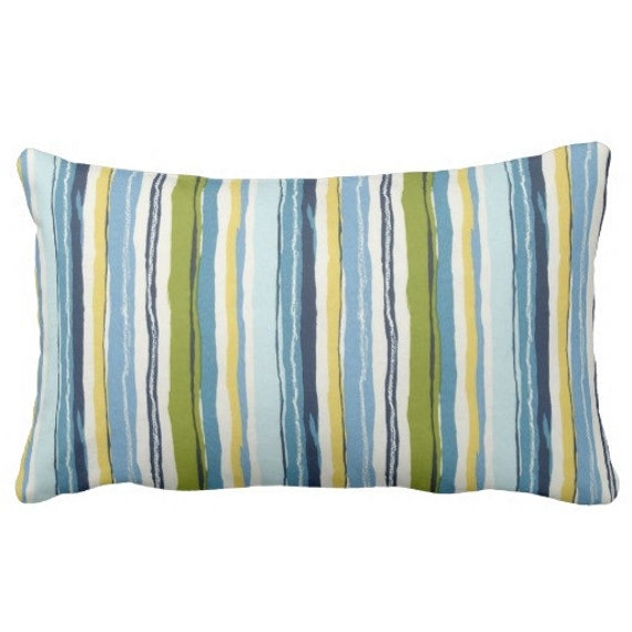 Decorative Outdoor Lumbar Pillows : Blue Outdoor Lumbar Pillows Decorative Striped Outdoor