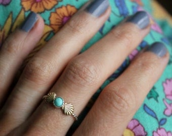 Sterling silver ring, Turquoise ring, mermaid ring, stacking ring - available in Opal, Turquoise. Moonstone, Pearl and more!