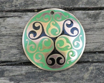 Celtic Jewelry - Handmade Celtic La Tene Pendant Etched, Hand Domed in Red Brass and Enameled in Green and Black - Ready to Ship