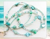 CARIBBEAN SEA- Beaded ID Lanyard- Mother of Pearl Beads, Agate Gemstones Czech Pearl Beads, and Sparkling Crystals (Magnetic Clasp)