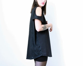 Oversized Shirt, Open shoulders top, Box top, Loose Top, Oversized black top - ON SALE