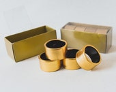 Vintage Napkin Rings Set of Eight Golden Colour Traditional English Excellent Condition Elegant and Classy Great Gift