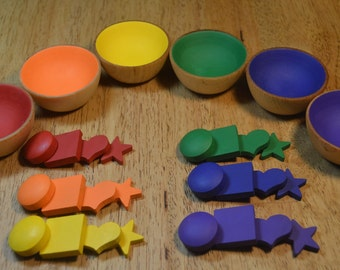 Montessori Counting Sorting Rainbow Bowls Circles Stars Hearts and Squares Sensory Toy