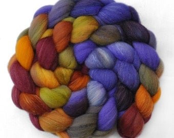 Handpainted roving - Silk / Polwarth 15/85% wool roving - 4.1 ounces - Spring Bouquet