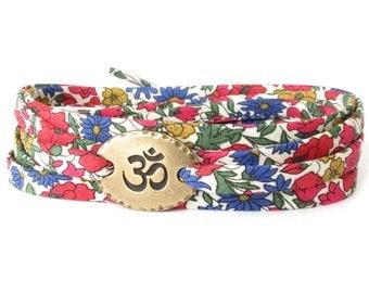 Multi colour yoga bracelet, Ohm bracelet with multi colour Liberty fabric, meaningful gift for best friend, UK jewellery shop