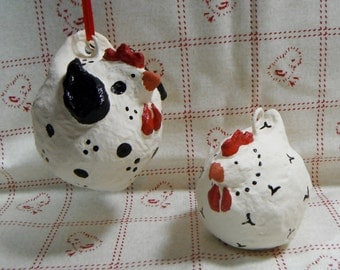 Ornaments Chicken Christmas French Country Ornaments Folk Art Figurines OOAK Itty Bitty Chickens Paper Mache Set of 2 White & Black Handmade
