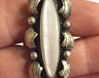 Vintage Southwestern Sterling Silver with Mother of Pearl Ring Signed RGP  Size 8 1/2