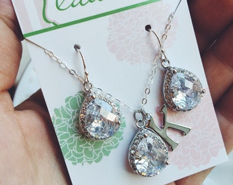 Silver Crystal Clear Jewelry Set - Wedding Jewelry - Bridesmaid Jewelry - Silver Wedding - Bridal Jewelry Set - As Seen on Instagram