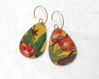 SALE! Recycled Vintage Tin Earrings, Asian Cherry Blossoms in Golden Glory, Recycled Earrings of Love . . . how auspicious!