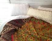 Kantha Quilt Throw, Boho Bedding, Kantha Blanket, Indian Quilt, Green, Brown, Lime