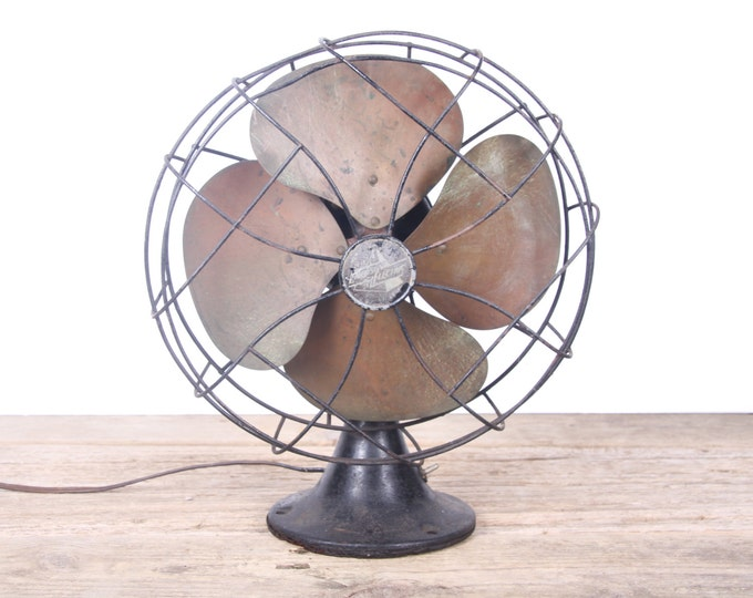 Vintage Electric Fan / Working Emerson Electric Fan / Brass Blade Fan / Home Decor / Cast Iron Fan / Office Set Prop Display