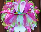 Whimsical Easter TUTU BUNNY Wreath with COLORFUL Hat