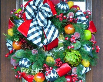 MACKENZIE CHILDS Inspired CHRISTMAS Wreath with Black and White Bow, Harlequin Ornaments and Fruit