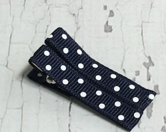 Baby Hair Clips - Navy Blue Polka Dot - Simple Alligator Hair Clip Set - Baby, Girl, Toddler, Children