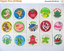 ON SALE Huge Lot of Fifteen Vintage Trend Matte Scratch and Sniff Stickers 80's - Smell Great - Strawberry Blueberry Peanut Chicken Bubblegu