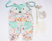 fox romper for baby girls in mint