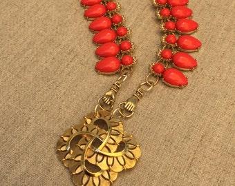 Trifari Brooch Statement Necklace by Modifeye Vintage Assemblage Necklace