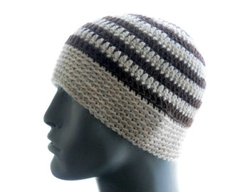 Men's Brown Striped Beanie with Band, Handmade Wool Crochet Hat, Small Size