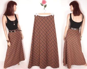 70s maxi skirt // brown plaid