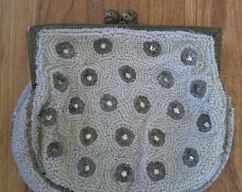 20s French beaded and diamante little coin purse / pouch