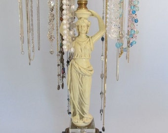 4-Arm Necklace Stand   Ivory Goddess   Hollywood Regency   Upcycled Lamp Parts   Vintage Lamp   Store Display   Gifts for Her