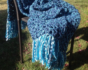 Blue Crochet Blanket Throw Afghan with Fringe Thick Bulky Unique One Of A Kind